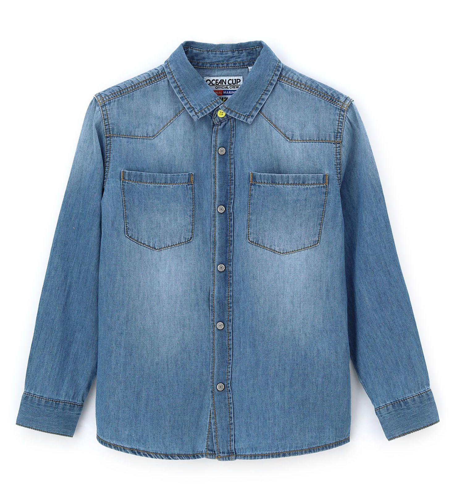 Купить Рубашка с длинным рукавом Original Marines, синий, 140, Мальчики, весна