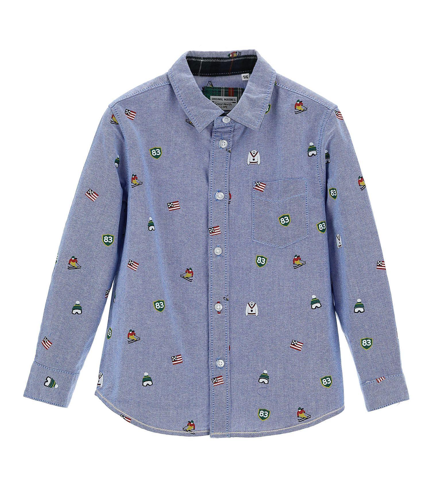 Купить Рубашка с длинным рукавом Original Marines, голубой, 98, Мальчики, зима