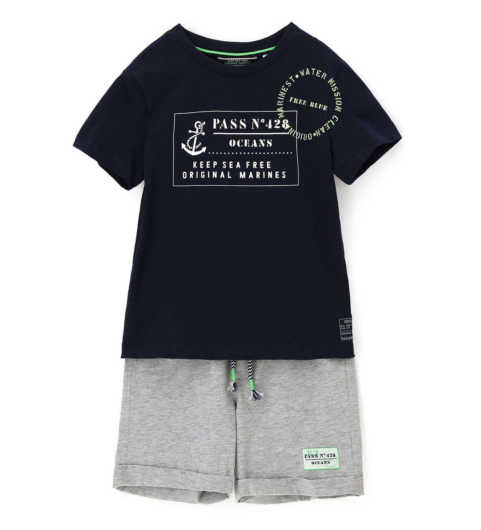 Купить Комплект (футболка+шорты) Original Marines, синий, 140, Мальчики, весна
